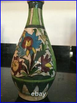 Beautiful 19th C. Antique Persian Empire Pottery Vase Hand Painted Stamped, MB222