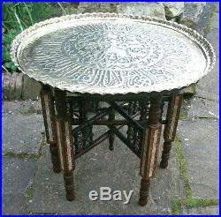 Beautiful Antiquesyrian Islamic Inlaid Folding Side Table With Brass Tray