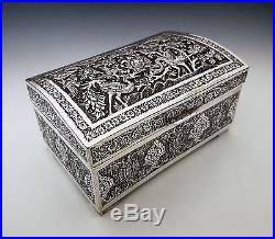 Beautiful Large Antique Persian Islamic Solid Silver Hallmarked Box 947.8g