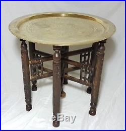 Beautiful Middle Eastern Brass Tray Table