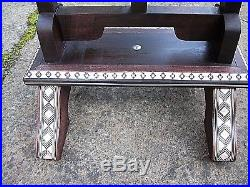 Beautiful Moroccan Hexagonal Inlaid Wooden Side Table With Tilting Top