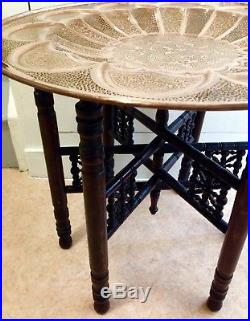 Beautiful Vintage Large Middle Eastern Islamic Cairo Work Brass Tray Table