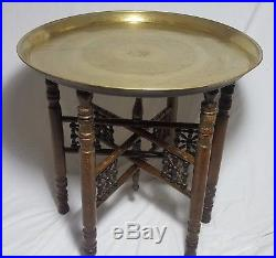 Beautiful Vintage Middle Eastern Brass Table with Wooden Stand -Diameter 57 cm