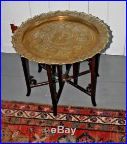 Brass Chinese engraved tray folding wood Table Antique Asian Bronze
