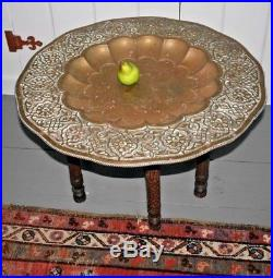 Brass Islamic Persian tray folding carved wood Table Antique Moroccan Bronze