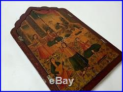 Breathtaking Quality Antique Persian Qajar Islamic Hand Painted Wooden Mirror