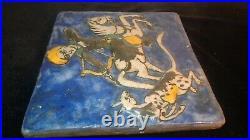Circa 1870 Qajar Iznik Indo Persian Glazed Tile of Hunter withBow on Horse withPrey