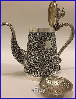 EXQUISITE LARGE ANTIQUE CHASED ISLAMIC PERSIAN INDIAN KUTCH SILVER TEAPOT 719g