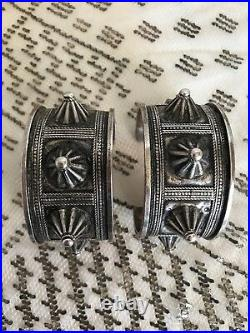 EXTREMELY RARE Pair Of Antique Bedouin Sterling Silver Spike Cuff Bracelets