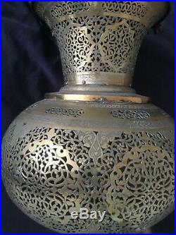 Early 20thC, Islamic, Middle Eastern, pierced hanging brass Mosque lantern, 90cm