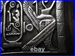 Egyptian revival Silver Box motif scenes Seth Horus Falcon God Ankh Hieroglyphic