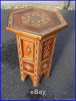 Excellent large 25 high antique Islamic Syrian inlaid lamp table, fine example