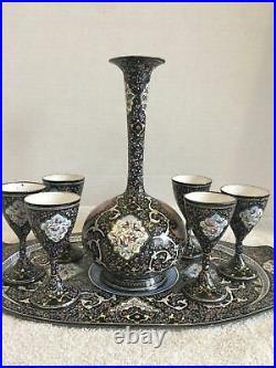 Exquisite 8 piece liquor serving setEnamel Mina Kari Islamic, Arabic, Persian