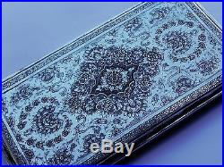 Exquisite Antique Persian Islamic Solid Silver Cigarette Case Heavy 257g 9.1oz