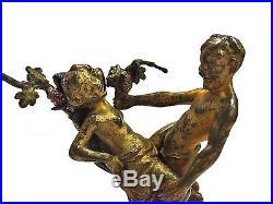 Exquisite Antique Signed NAM GREB Franz Bergman Erotic Nymph Vienna Bronze