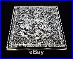Extremely Fine Large Antique Persian Islamic Solid Silver Hallmarked Box 493.5g