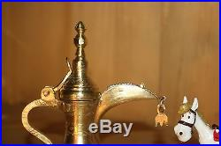 Extremely rare ornaments Antique Dallah Coffee Pot Middle East Bedouin Brass No3