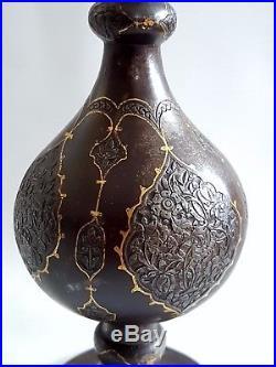 FINE ANTIQUE PERSIAN QAJAR ISLAMIC HAND CHISELED GOLD INLAID STEEL BOTTLE C1840s