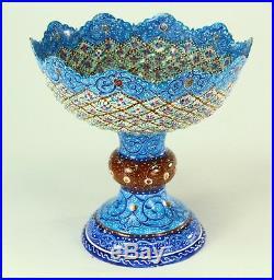 FINE Antique Islamic MINAKARI Mina Enamel on Copper Raised Bowl Compote