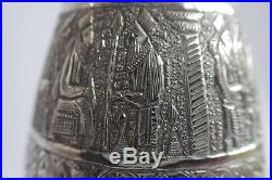 Fine Pair Antique Vintage Signed Persian Islamic Hand Carved Solid Silver Vases