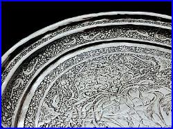 FINEST Antique Persian Style Middle Eastern Islamic Solid Silver Tray by Lahiji