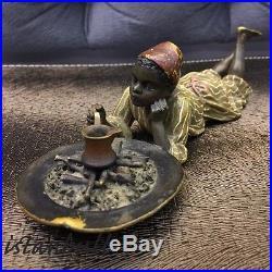Franz Bergman Austrian Vienna Bronze Orientalist Ottoman Arab Boy Making Coffee