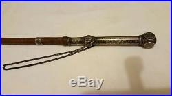 Fine Antique Islamic Niello Silver Leather Whip Ottoman Turkish