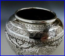 Fine Antique Middle Eastern Qajar Islamic Persian Style Solid Silver Vase 497g