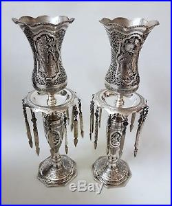 Fine Antique Persian Islamic Solid Silver Candlestick Lustres By Amir Saei 2.2kg