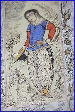 Fine Antique Persian Qajar Princess Painting Garden Middle Eastern Islamic Art