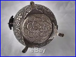 Fine Antique Persian Silver Footed Casket/ Covered Box with Peacock Finial