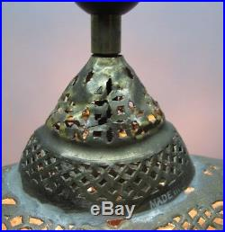 Fine Antique SYRIAN PERSIAN Hand-Hammered Brass Lamp with Fringe Shade c. 1930