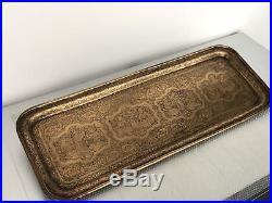 Fine Islamic Persian Antique Qajar Tray Qalamzani Brass Late 1800's. SUMMER SALE