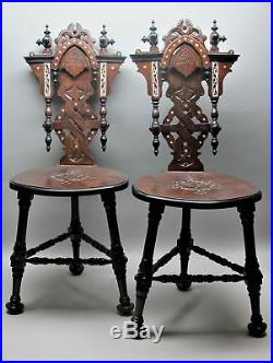 Fine Pair of Vintage SYRIAN Persian Side Chairs c. 1950s antique Middle-East