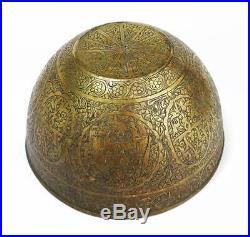Fine QAJAR Engraved BRASS BOWL c1910 PRINCELY FIGURES