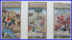Fine Set of 3 Framed 18th C. PERSIAN ILLUMINATED Watercolor Gouache Paintings