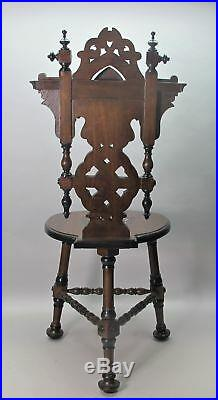 Fine Vintage PERSIAN SYRIAN Carved & Inlaid Side Chairs c. 1950s antique