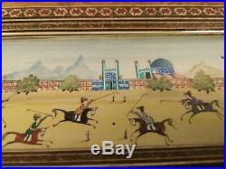 Fine Vintage Persian Hand Painted Panel In Khatam Work Frame