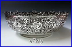 Finest Quality Huge Antique Persian Islamic Solid Silver Hallmarked Bowl 1376g