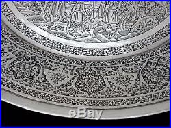 Finest Rare Antique Middle Eastern Persian Islamic Solid Silver Signed Tray 449g