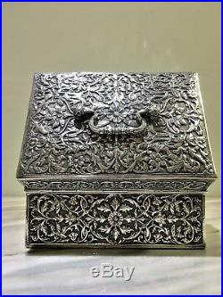 Finest antique indian persian islamic middle eastern burmese solid silver box