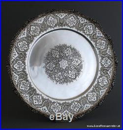 Finest islamic persian silver tray finely engraved 84 signed top condition
