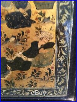 Framed Antique Islamic Persian Painted Papier Mache Book Binding