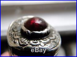 Good Antique Turkish Ottoman All Silver Kard Dagger With Garnet Good Blade 1870