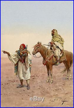 Giulio Rosati antique middle eastern painting Italian orientalist art watercolor