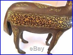 Gold Islamic Antique Persian Qajar All Iron Deer Decoration Figure No Shamshir