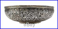 Good Antique Ottoman Silver Hammam Bowl, Repousse, Omphalos, Early-mid 19th C