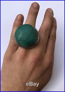 HUGE Antique Islamic Yemeni Sterling Silver Turquoise Bird Afghan Persian Ring