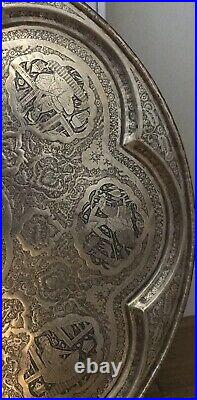 Hammered Middle Eastern Persian Serving Tray Handmade Inlaid Copper 19 HEAVY