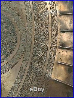 Huge 26 Antique Persian Etched Copper Tray Round wall mount Unidentified